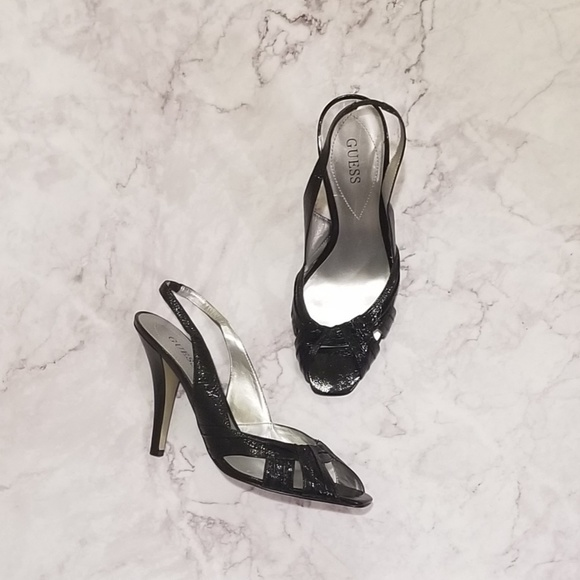 "Guess by Marciano Shoes - [Guess] ""Sheryl"" Black Patent Slingback Heels"